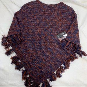 Style & Co Womens PonchoFringe Tassels sweater